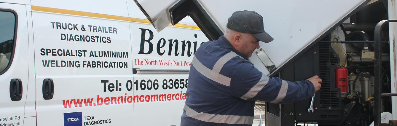 A mechanic fixing a lorry