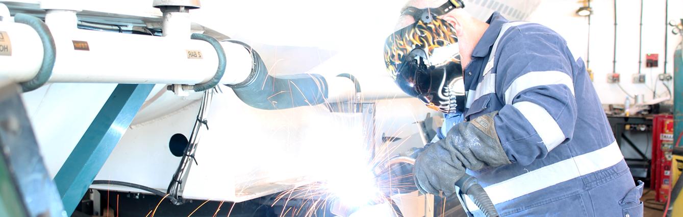 A mechanic welding